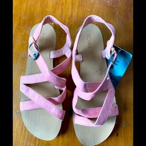 Toms NWT Sicily pink canvas strappy sandals 6